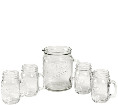 Mason Jar 5 Piece Drinkware Set