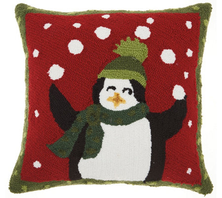 "Mina Victory Penguins Multicolor 18"" x 18"" Throw Pillow"
