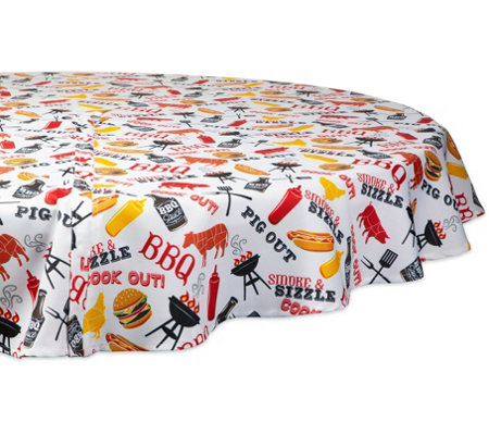 Design Imports Bbq Fun Print Tablecloth W Zipper 60 Round
