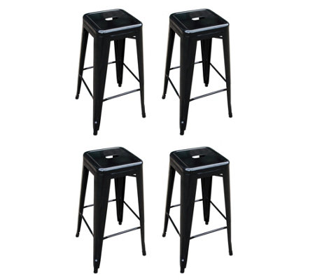 Superb Amerihome 30H Metal Bar Stool 4 Pack Qvc Com Gamerscity Chair Design For Home Gamerscityorg
