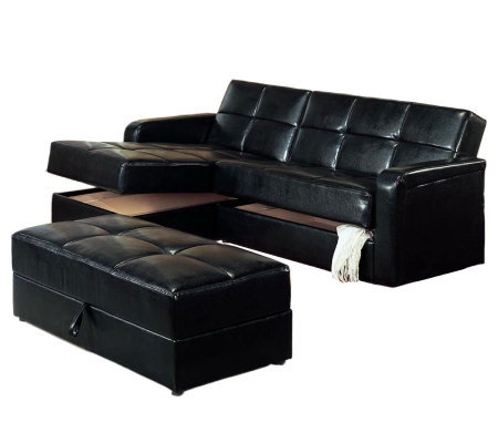 Black Vinyl Chaise Storage Sofa Bed With Ottoman By Coaster Qvc Com