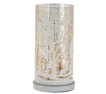 """As Is"" Illuminated Mercury Glass Pillar with Holiday Scene"