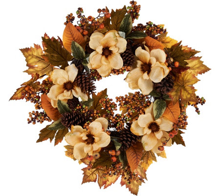 """As Is"" 24"" Magnolia, Leaf and Berry Wreath by Valerie"