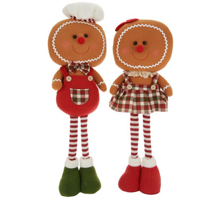 "Set of (2) 21"" Plush Gingerbread Characters by Valerie"