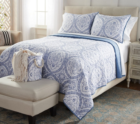 Casa Zeta-Jones Cotton Reversible King Quilt w/ Shams & Storage Bin