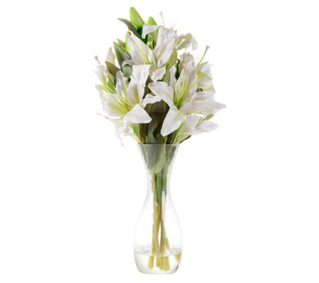 White Tall Lily Artificial Flowers with Vase byPure Garden