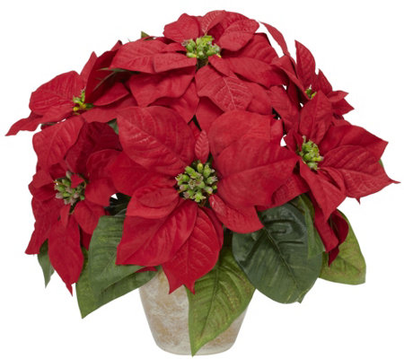 Poinsettia Ceramic Vase Flower Arrangement by Nearly Natural