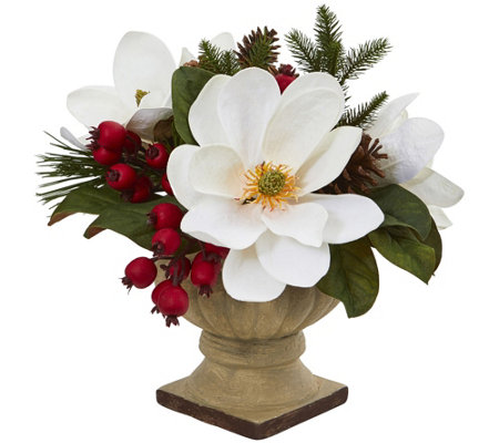 Magnolia, Pine and Berries Arrangement by Nearly Natural