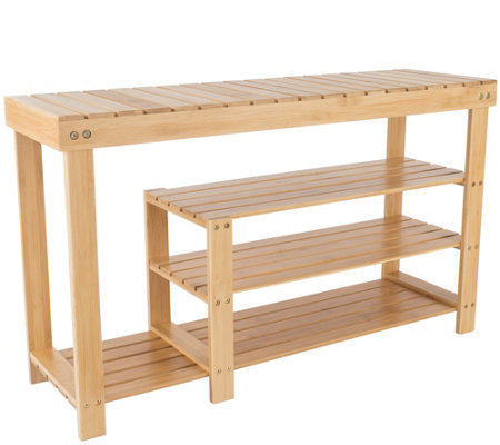 Lavish Home 3-Tier Bamboo Shoe and Boot Rack Bench Seat