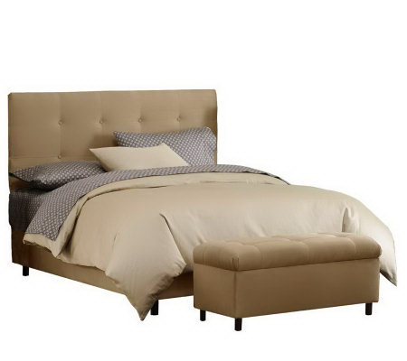 Skyline Furniture Ultrasuede Full Headboard & Storage Bench