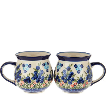 Lidia's Polish Pottery Set of 2 Stoneware Bubble Mugs