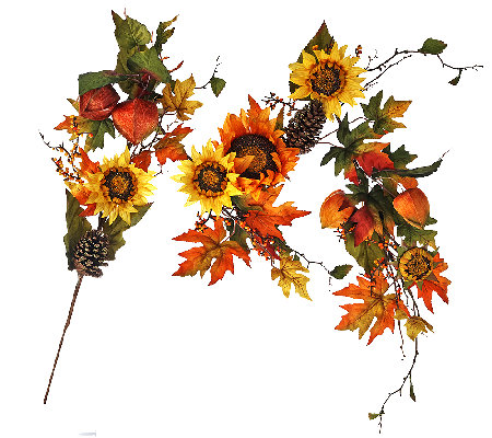 5' Bountiful Harvest Garland with Sunflowers by Valerie