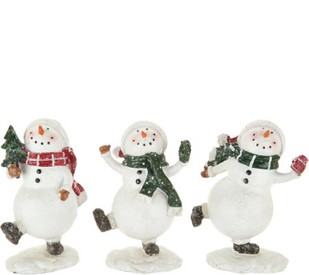 "Set of (3) 5"" Snowmen with Decorative Accents by Valerie"