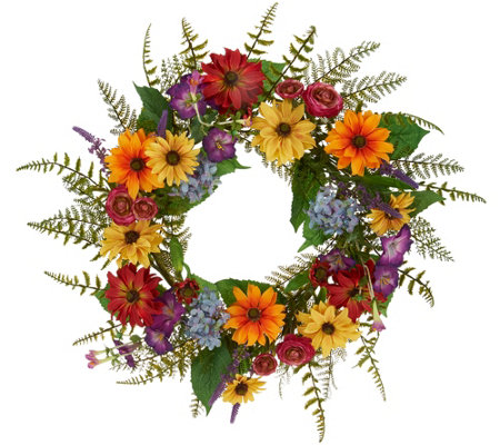 "Anniversary 22"" Garden in Bloom Wreath by Valerie"