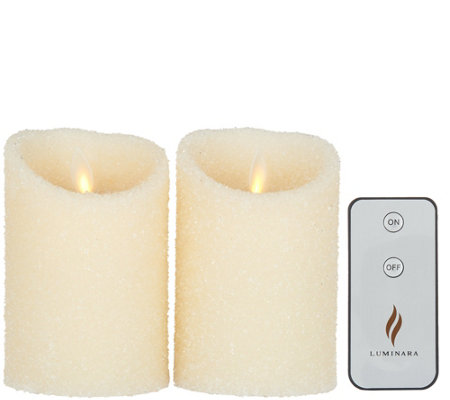 "Luminara Set of 2 4"" Sugared Pillar Candles w/Remote"