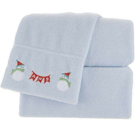 Malden Mills Polarfleece Queen Holiday Embroidered Hem Sheet Set