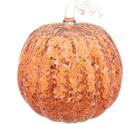 Oversized Illuminated Glass Glitter Pumpkin with Timer