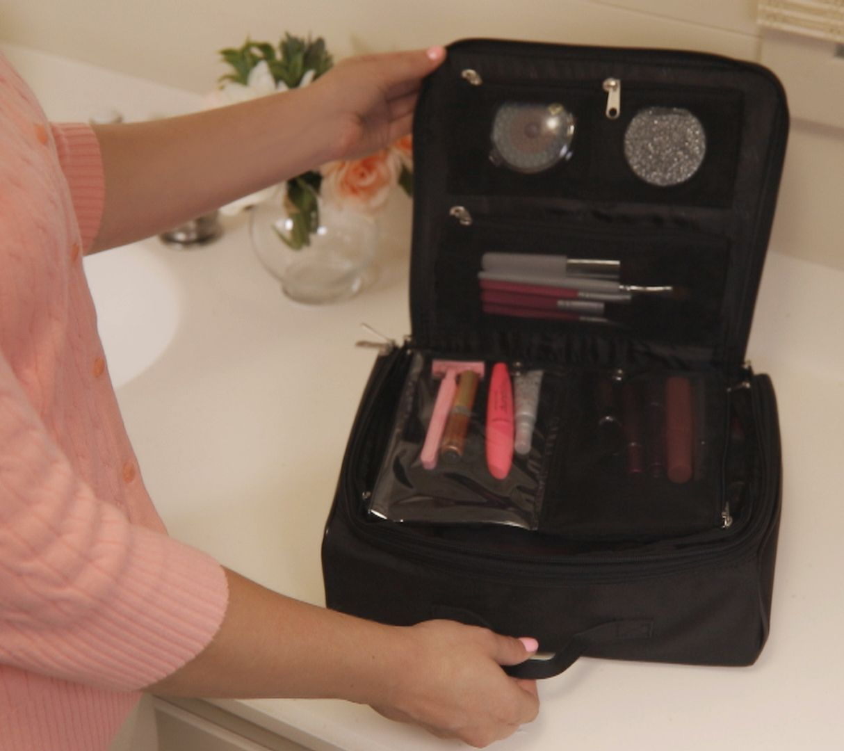 Cosmetic Organizer Case With Compact