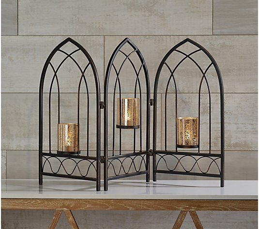 3-Panel Metal Screen with Mercury Glass Votives by Valerie
