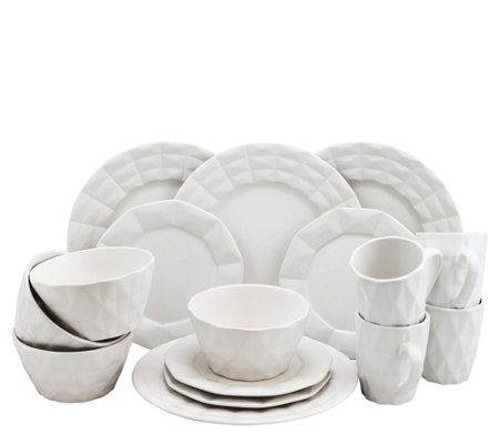 Elama Retro Chic 16-Piece Glazed Dinnerware Set- White
