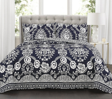 RoSetta Floral 3-Piece FL/QN Navy Quilt Set byLush Decor