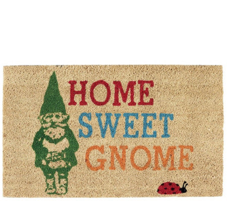 Home Sweet Gnome Natural Coir Doormat With Nonslip Back