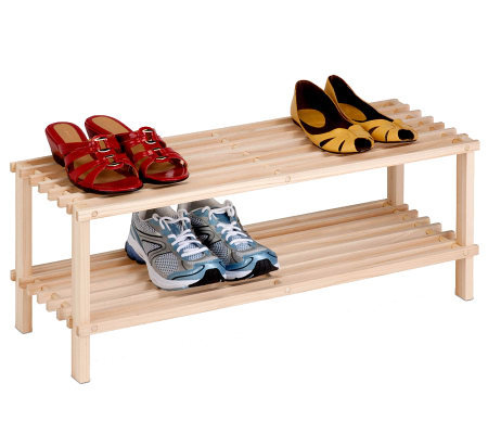 Honey-Can-Do 2-Tier Unfinished Natural Wood Shoe Rack