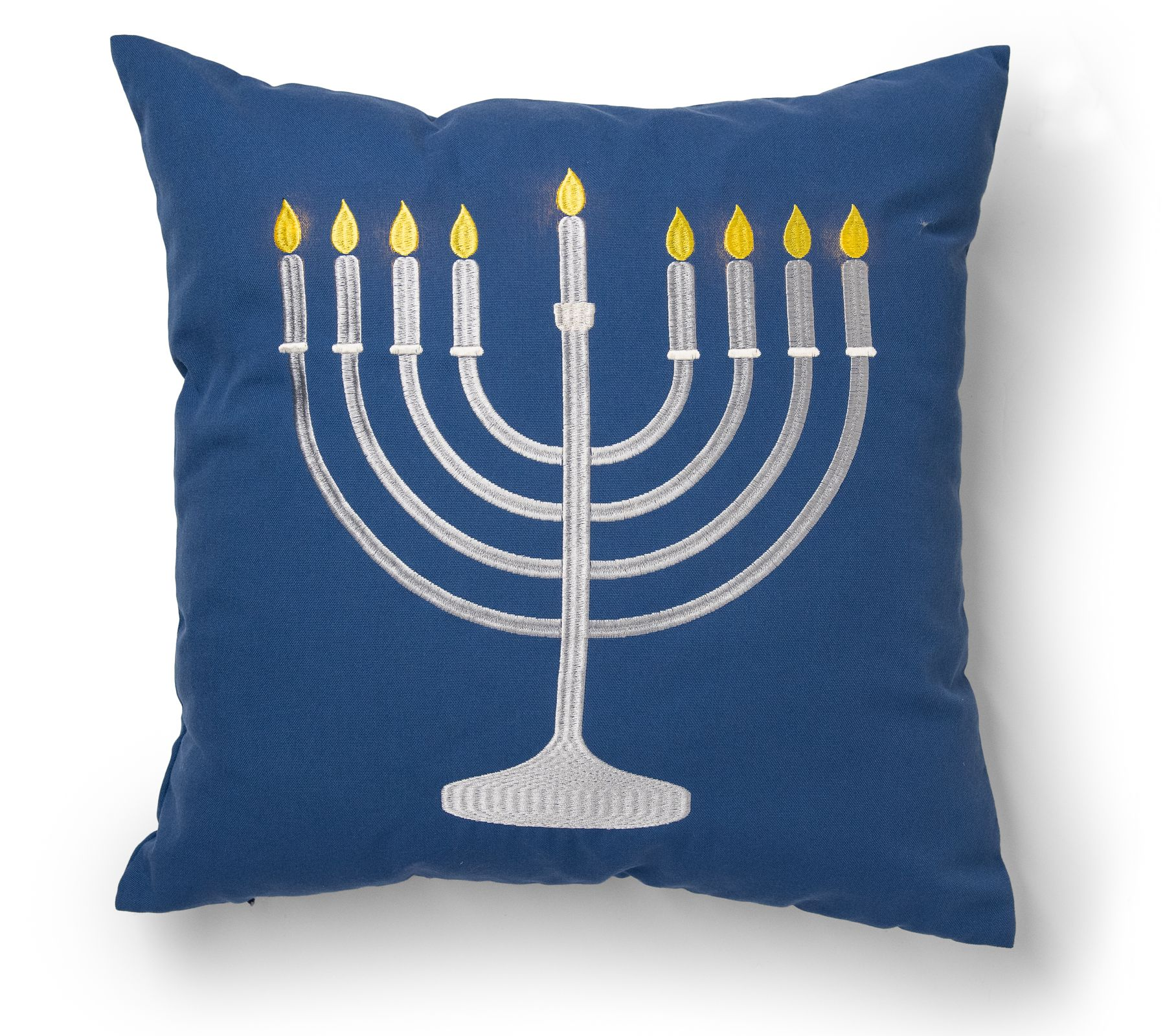 Light up menorah decorative throw pillow