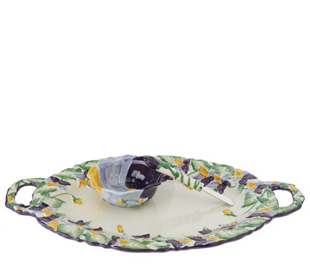 Temp-tations Figural Floral Platter and Dip Bowl