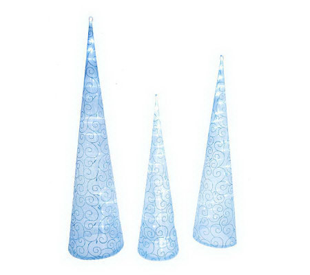 As Is Kringle Express Set 3 Battery Op Fabric Swirl Tower Tree