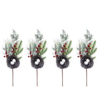 set of 4 nest picks with berries by valerie h209631 - Decorative Picks For Christmas Trees