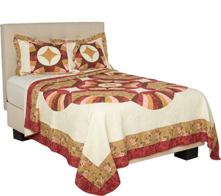 Cambridge 100% Cotton King Pieced Quilt w. Shams
