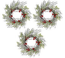 "Set of 3 Iced Branch and Berry 10"" Rings by Valerie - H211831"
