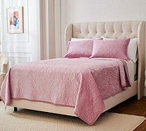 Casa Zeta-Jones Stitched Damask Velvet Full Quilt Set - H217231
