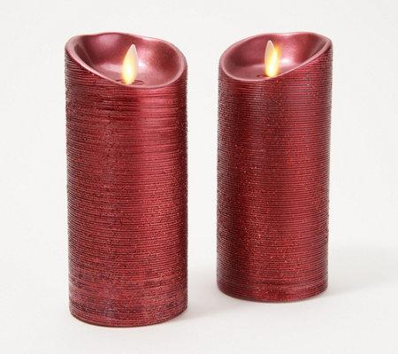 Luminara Set Of 2 3 X 6 Spun Metallic Pillar Candles Boxes