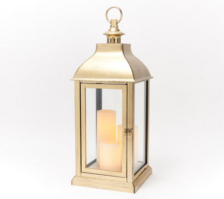 "Candle Impressions 23"" Large Indoor/ Outdoor Lantern with 3 Candles"