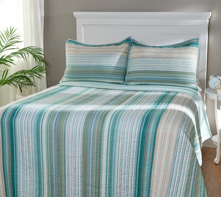 Northern Nights 100% Cotton Yarn Dyed Stripe Quilt & Sham Set - Full
