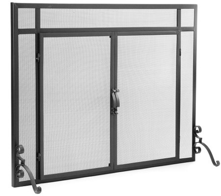 Plow & Hearth Small Classic Flat Guard Fire Screen with Doors