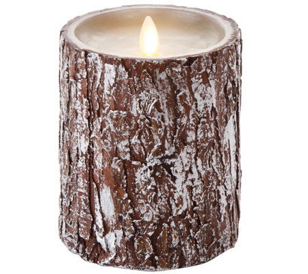 "Luminara 5"" Metallic Silver Bark Flameless Candle"