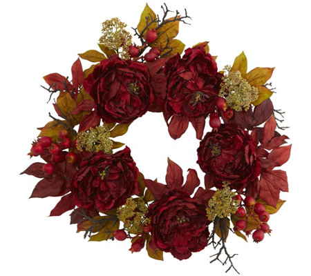 "24"" Peony Sedum Wreath by Nearly Natural"