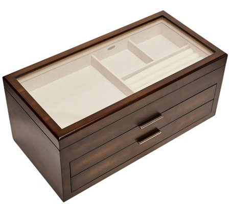 Mele Co Nova Glass Top Wooden Jewelry Box
