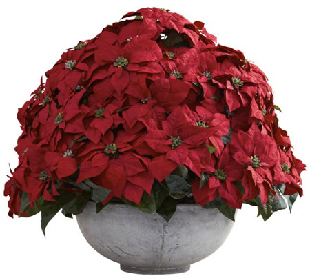 Giant Poinsettia Arrangement with Planter by Nearly Natural