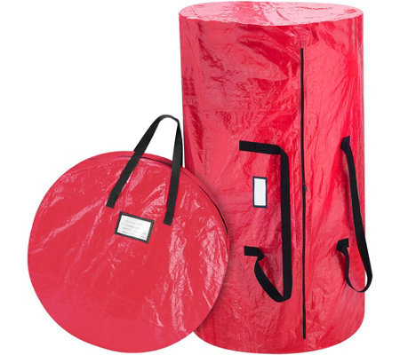 Elf Stor Red Christmas Tree & Wreath Combo Storage Bag