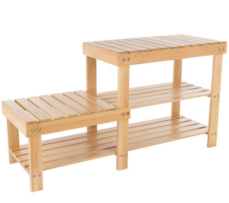Lavish Home 2-Tier Bamboo Shoe Rack Bench withHigh Low Seats