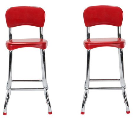 Cosco Retro Red Chrome Set of 2 High Top Chairsw/ Chrome Legs