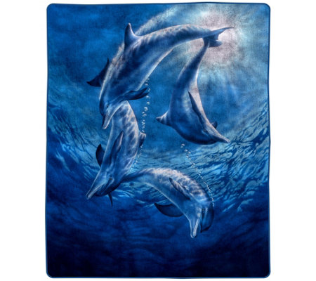 "Lavish Home 74"" x 91"" Heavy Fleece Blanket withOcean Dolphins"