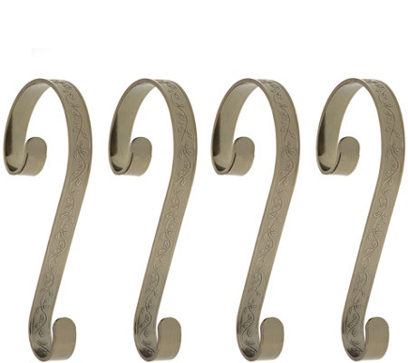 Haute Decor Set of 4 Holly Embossed Stocking Scrolls