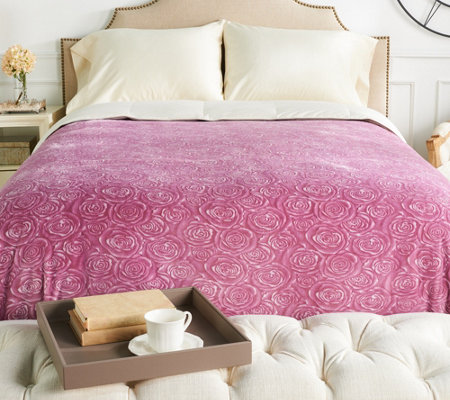 Casa Zeta-Jones Signature Rose Velvet Soft Full Blanket