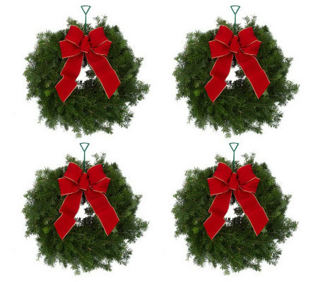 Del. Week 11/26 Set of 4 Mini Fresh Balsam Wreaths by Valerie