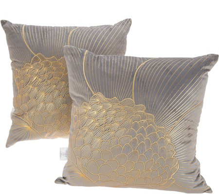 Inspire Me Home Decor Set Of 2 Gold Floral Metallic Pillows 18 X18